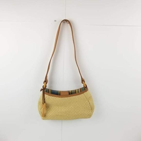 Fossil Women's Woven Straw Handbag tan Beige